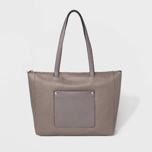 Gray Zip Top Tote Handbag - A New Day NWT
